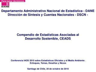 Compendio de Estadísticas Asociadas al  Desarrollo Sostenible, CEADS