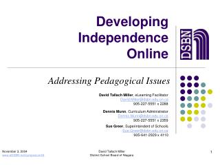 Developing Independence Online