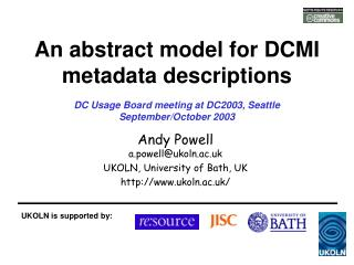 An abstract model for DCMI metadata descriptions