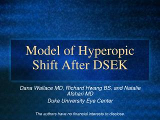 Model of Hyperopic Shift After DSEK