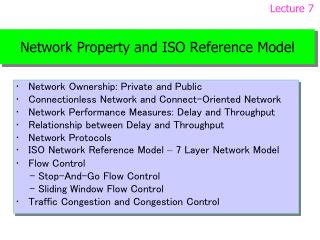 Network Property and ISO Reference Model