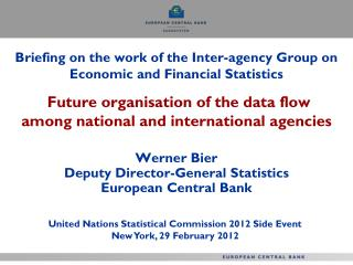 Werner Bier Deputy Director-General Statistics  European Central Bank