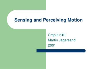 Sensing and Perceiving Motion