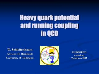 Heavy quark potential and running coupling in QCD
