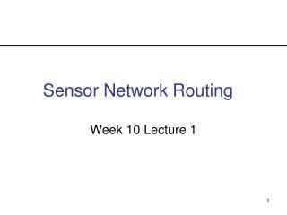 Sensor Network Routing