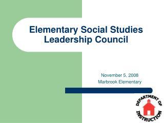 Elementary Social Studies Leadership Council