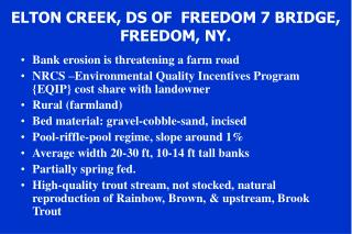 ELTON CREEK, DS OF  FREEDOM 7 BRIDGE,  FREEDOM, NY.