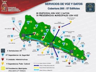 SERVICIOS DE VOZ Y DATOS Cobertura  2005 : 57 Edificios
