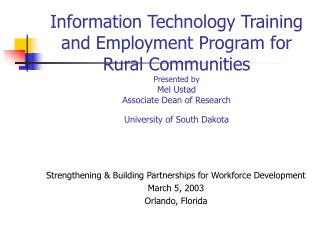 Information Technology Training and Employment Program for ...