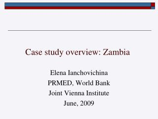 Case study overview: Zambia