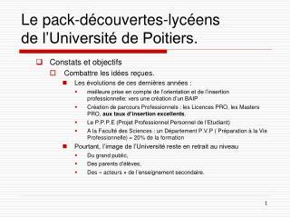 Le pack-d�couvertes-lyc�ens de l�Universit� de Poitiers.