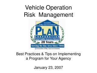 Vehicle Operation  Risk  Management