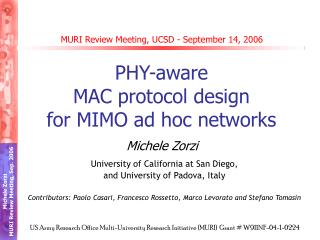 MURI Review Meeting, UCSD - September 14, 2006