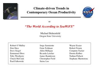 Climate-driven Trends in Contemporary Ocean Productivity