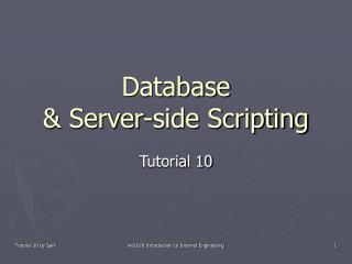 Database  & Server-side Scripting