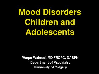Mood Disorders Children and Adolescents