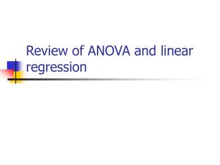 Review of ANOVA and linear regression