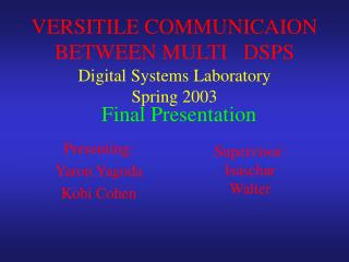 VERSITILE COMMUNICAION  BETWEEN MULTI   DSPS Digital Systems Laboratory Spring 2003