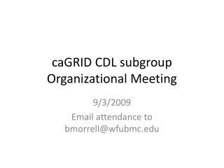 caGRID  CDL subgroup Organizational Meeting