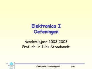 Elektronica I Oefeningen