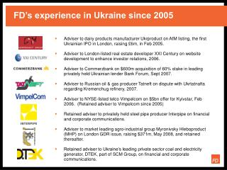 FD's experience in Ukraine since 2005