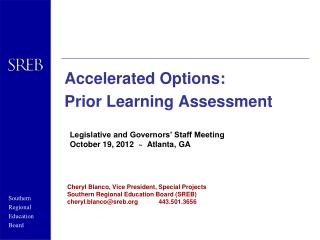 Accelerated Options:  Prior Learning Assessment