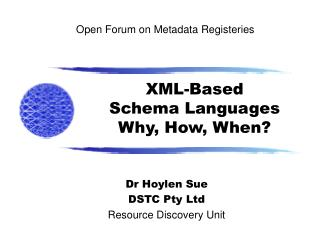 Open Forum on Metadata Registeries