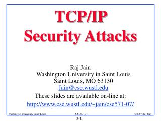 TCP/IP  Security Attacks