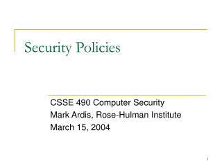 Security Policies