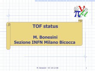 TOF status M. Bonesini Sezione INFN Milano Bicocca