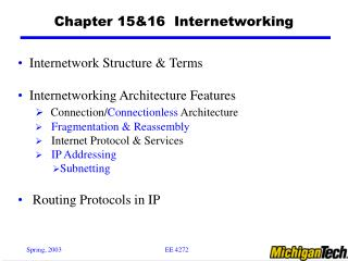 Chapter 15&16  Internetworking