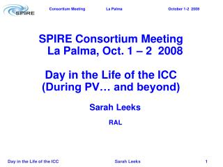 SPIRE Consortium Meeting La Palma, Oct. 1 – 2  2008 Day in the Life of the ICC