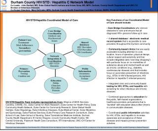 Durham County HIV/STD / Hepatitis C Network Model