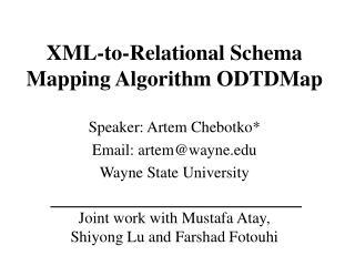 XML-to-Relational Schema Mapping Algorithm ODTDMap
