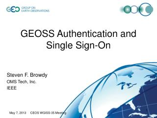 GEOSS Authentication and Single Sign-On
