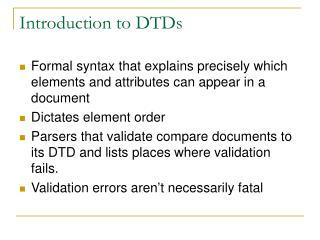 Introduction to DTDs