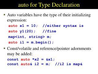 auto for Type Declaration