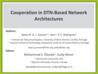 Cooperation in DTN-Based Network Architectures