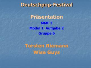 Deutschpop-Festival Präsentation