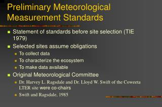 Preliminary Meteorological Measurement Standards