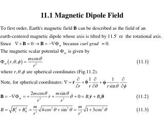 11.1 Magnetic Dipole Field