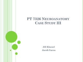 PT 7326 Neuroanatomy Case Study III