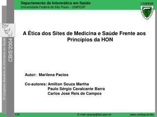 A  tica dos Sites de Medicina e Sa de Frente aos          Princ pios da HON