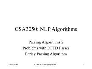 CSA3050: NLP Algorithms
