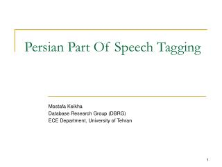 Persian Part Of Speech Tagging