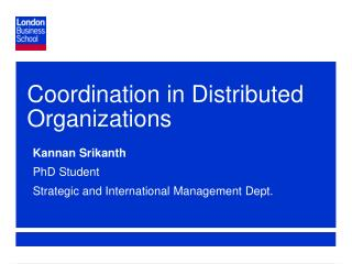 Coordination in Distributed Organizations