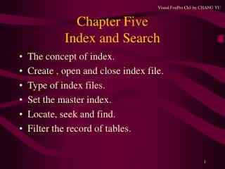 Chapter Five Index and Search