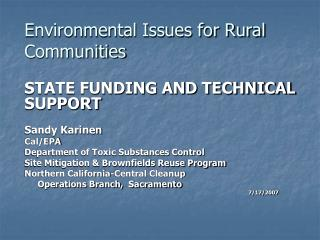 Environmental Issues for Rural Communities