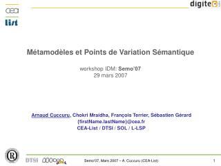 Métamodèles et Points de Variation Sémantique workshop IDM:  Semo'07 29 mars 2007