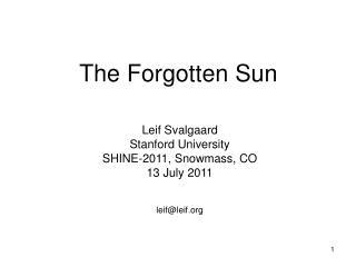 The Forgotten Sun